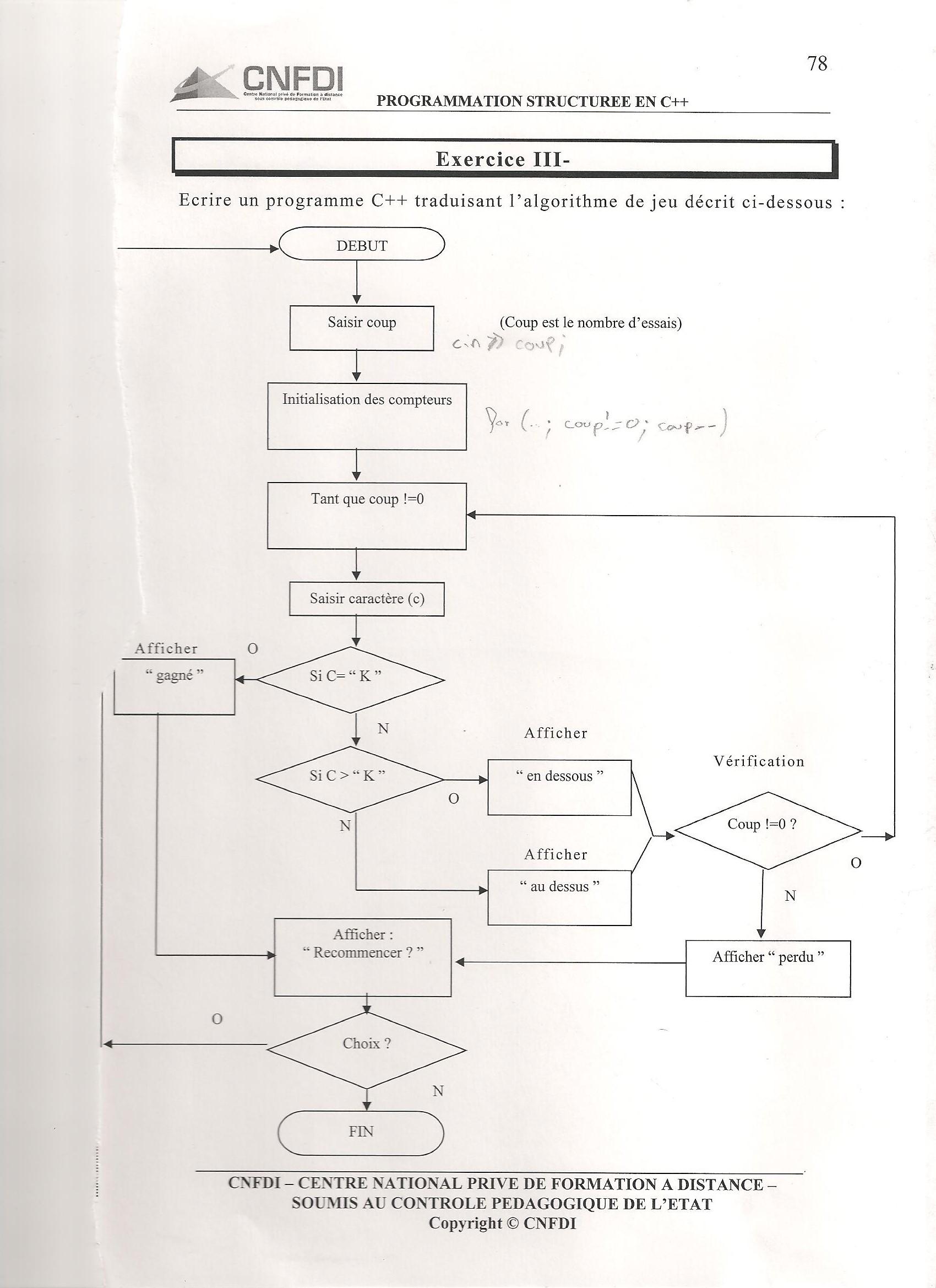 instruction while langage c