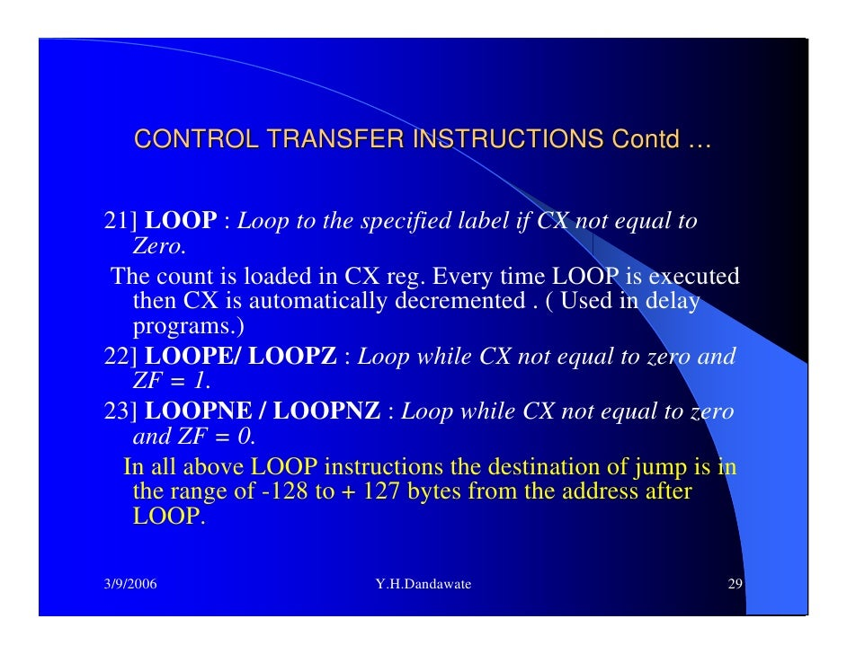conditional and unconditional jump instructions in 8086