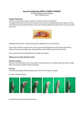 carpal tunnel surgery aftercare instructions uk