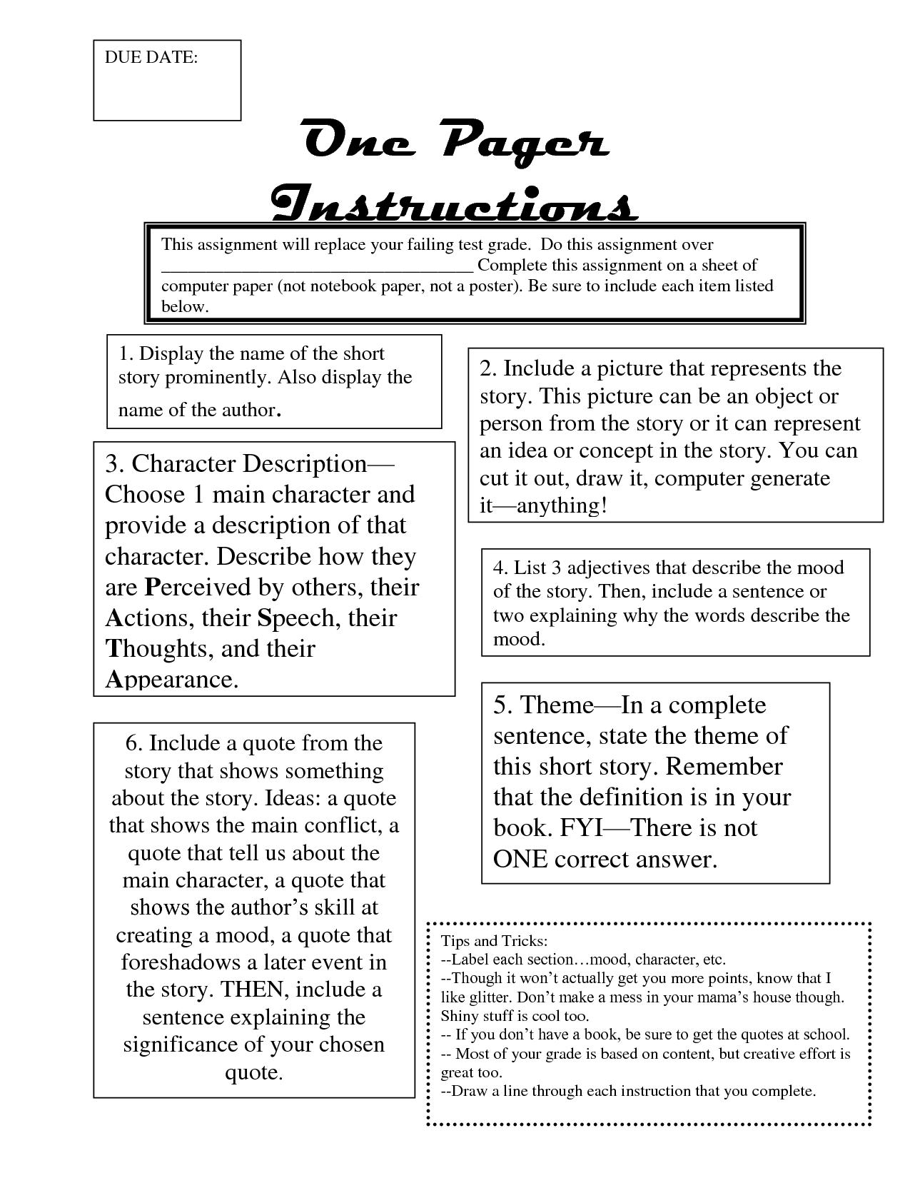 game instructions page ideas